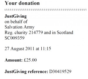Donation Salvation Army (27.08.2011)