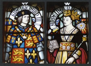 RIII and Queen Anne Neville - Stained glass window at Cardiff Castle (Source: Geoff Wheeler, Richard III Society)