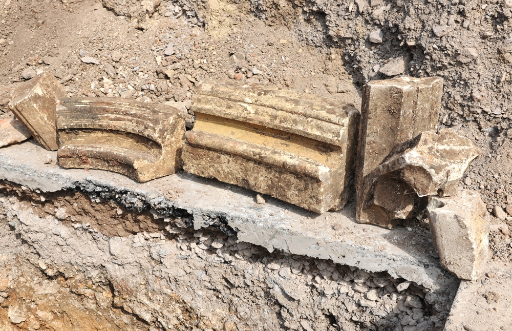 2. Fragments of what could be the east end window of the church. (Image credit - University of Leicester)