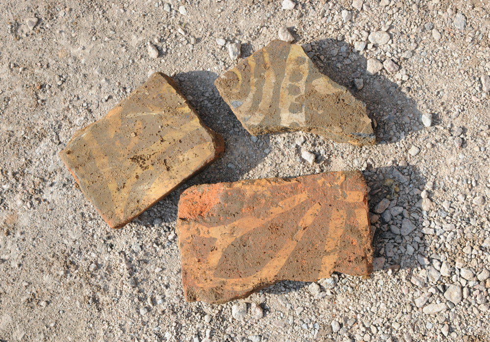 Medieval inlaid floor tiles from the friary (Credit - University of Leicester)