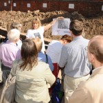 Philippa Langley (Richard III Society) showing a group of visitors around the site at the public open day (Credit - University of Leicester)