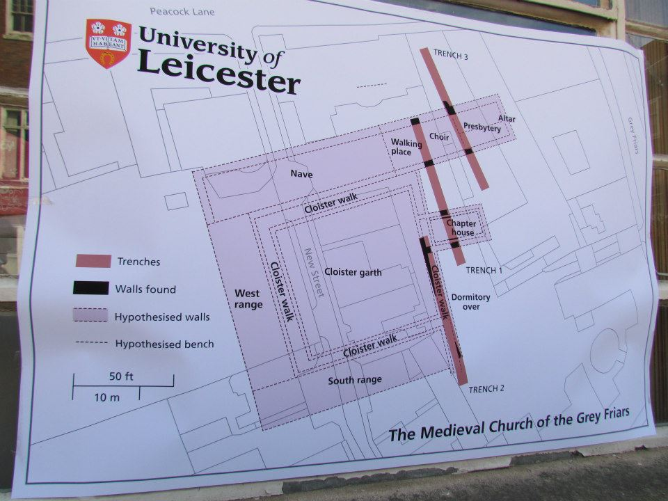 Site Map of the digging (Source: Richard III Society)