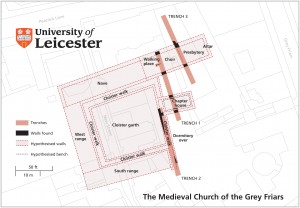 Site-map of the Medieval Church of the Grey Friars (Credit: University of Leicester)