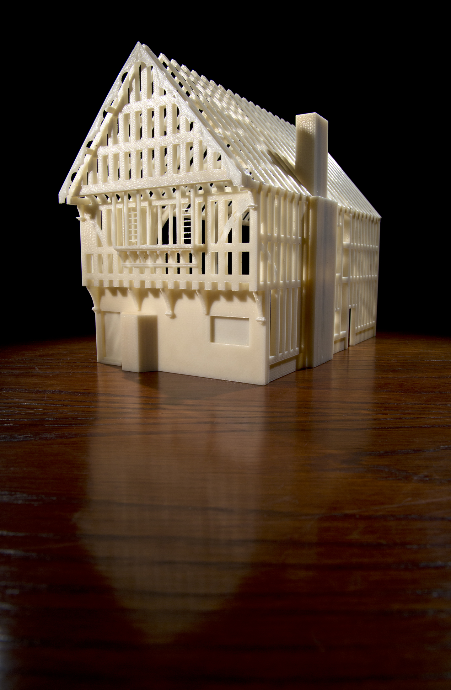 The reconstructed Blue Board Inn as a physical model produced on the University of Leicester's 3D printer - Credit: University of Leicester