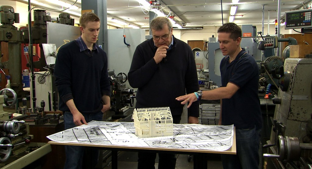Creator of the CAD model Steffan Davies (left), Richard Buckley (centre) and Dave Thompson (right) who produced the physical model using the University's rapid prototyping machine - Credit: University of Leicester