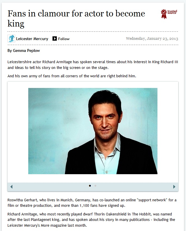 Leicester Mercury, Interview by Gemma Peplow (23.01.2013)