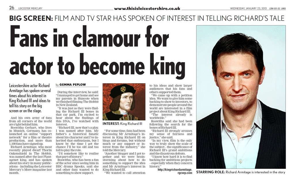 Source: Leicester Mercury - Interview by Gemma Peplow (23.01.2013)
