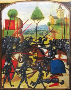 Illustration of the Battle of Barnet on the Ghent manuscript, a late 15th-century document (Source: Wikipedia.org)