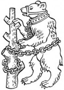 Warwick's emblem of the Bear and Ragged Staff