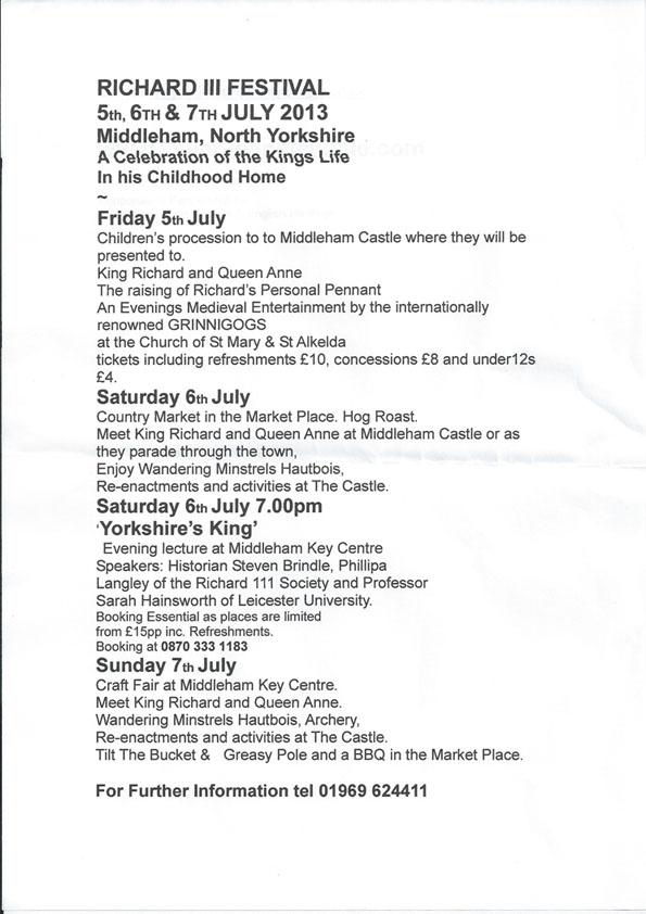 Middleham Richard III Weekend (5 - 7 July 2013)