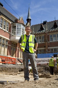 Peter Warzynski, Leicester Mercury - at the digging site where King Richard III was found. 7/2013 (Source: Peter Warzynski)