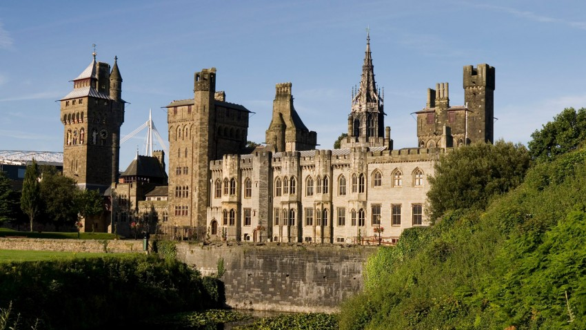 Cardiff Castle showing bay fronted grey stone Plantagenet house surrounded by the later Victorian Towers (Source: Jim Cowan - Cardiff History and Hauntings)