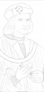 First draft of King Richard III portrait by Michelle Jimenez.-Porras